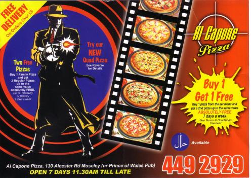 Flyer for Al Capone's Pizza