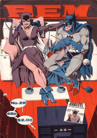 BEM 28 cover by Brian Bolland, Catwoman and Batman relax on the sofa