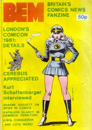 BEM 34 cover by Brian Bolland, Lady Blackhawk and Cerebus
