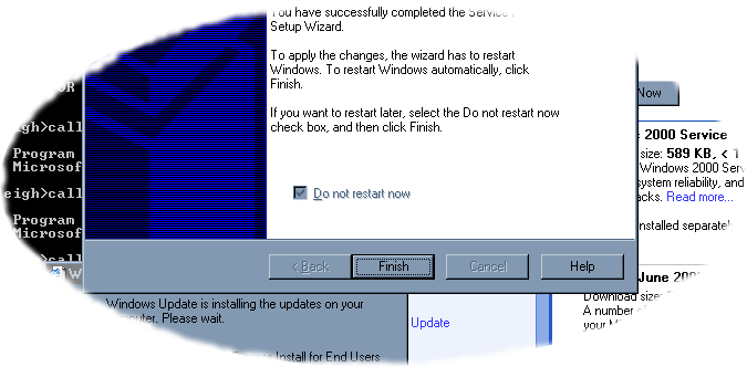 Stupid Windows Service Pack dialog box